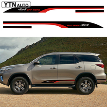 car stickers 2PC 4x4 off road styling side door graphic vinyl cool accessories decal custom for toyota FORTUNER