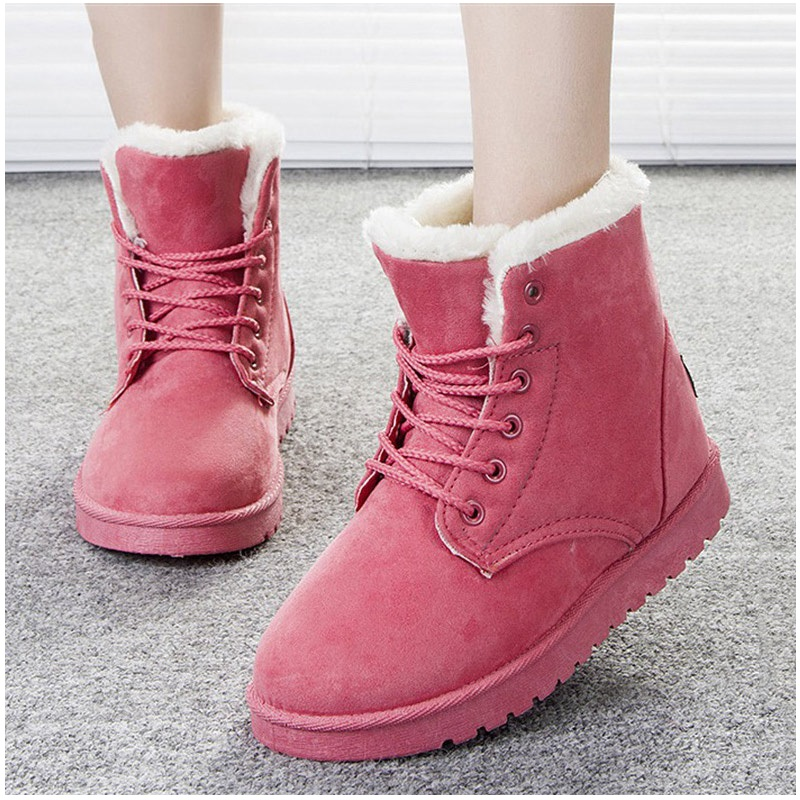 New Arrival Women Boots Snow Women Shoes Warm Winter Boots Botas Lace Up Mujer Fur Ankle Boots Ladies Winter Shoes  Beige 5530 2016 rhinestone sheepskin women snow boots with fur flat platform ankle winter boots ladies australia boots bottine femme botas