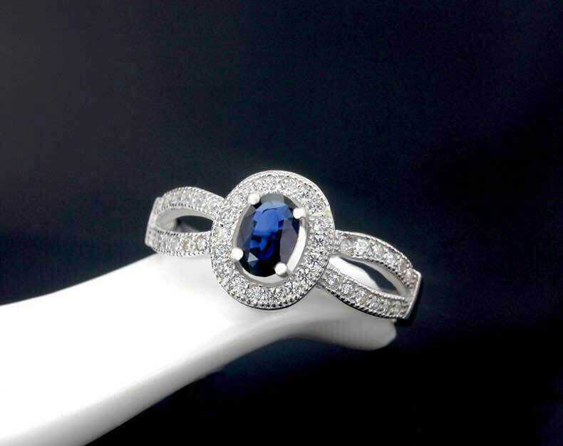 Natural sapphire stone Ring Natural gemstone Ring S925 Sterling Silver trendy Romantic elegant Circular women's party Jewelry