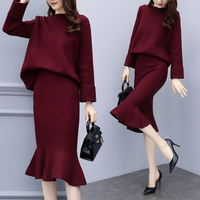 Sweaters Two Piece Set Vogue Top And Skirt Woman Suit Knitted Ensemble Femme Deux Pieces Plus Size 4xl Year old Female Costume