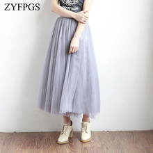 ZYFPGS 2019 Skirt Basic Section Solid Fashion Casual Female Pleated Autumn Top Cute Ladies Lace Princess Ankle Z0928
