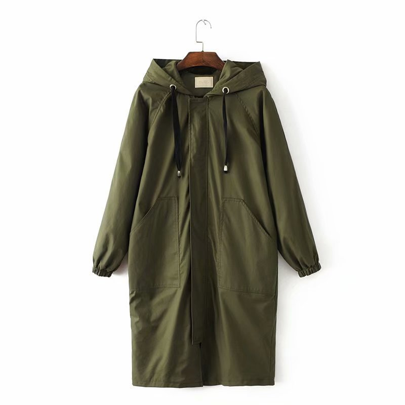 2018 Autumn Women Long Style   Trench   Coat Thin Solid Outwear Casual Hooded Loose Long Sleeve Green Coat Female   Trench   Clothes