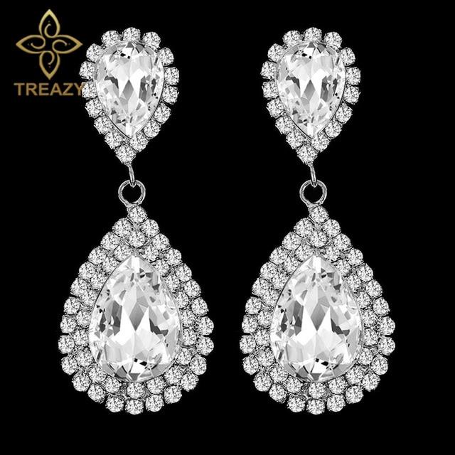 Treazy Silver Color Crystal Long Drop Earrings Beautiful Teardrop Rhinestone Bridal Party Wedding Jewelry For Women