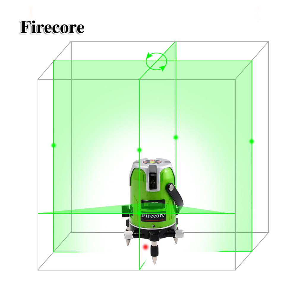Firecore EK-468GJ 5 Line Green Laser Level 360 Degree Rotary Laser Line Measurement Diagnostic-Tool With Lithium Battery