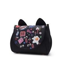 Cartoon Graffiti Edgy Small Flap Bag Women Cute Cat Ears Designer Ladies Lovely Chain Shoulder Bag