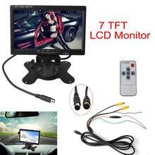 """Negro Del Coche Del Monitor de 7 """"TFT LCD Cámara de Visión Trasera del Monitor Soporte 2CH Entrada + IR de Control Remoto Para DVD VCD STB con Soporte"""
