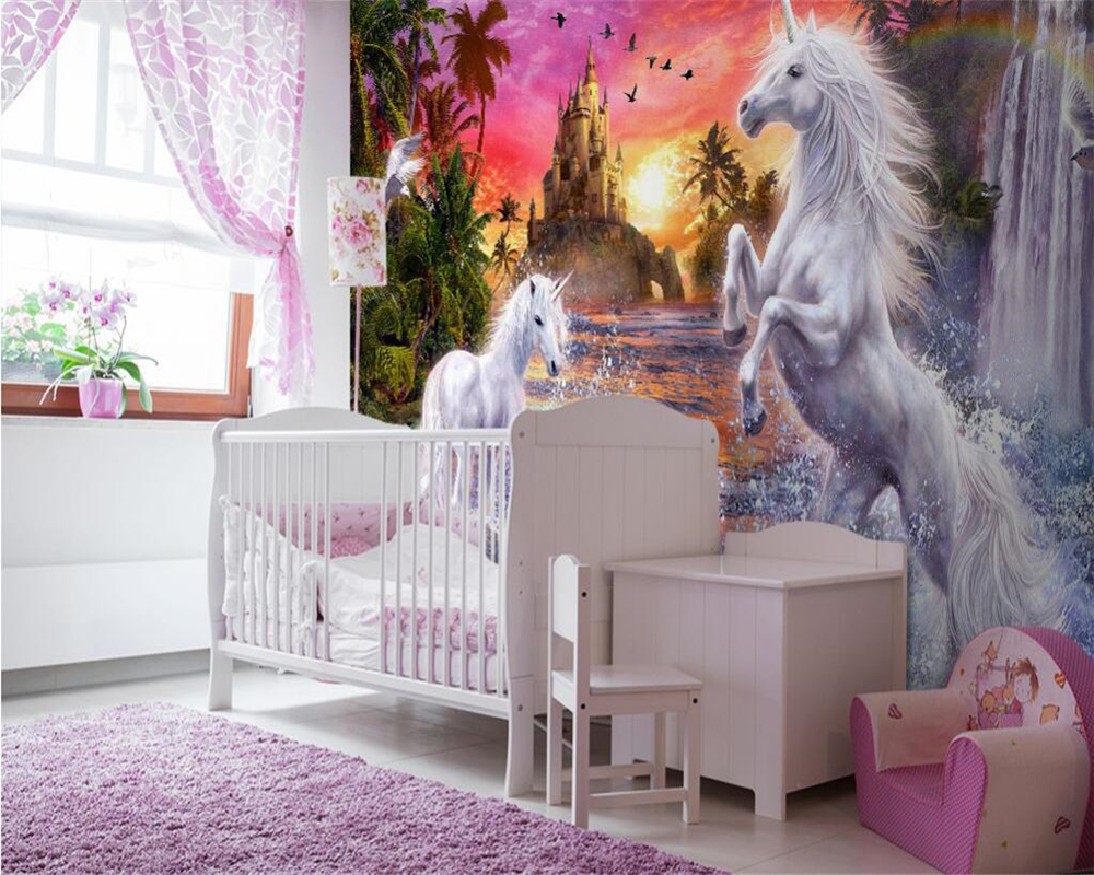 Castle room background - Beibehang Custom Wallpaper Red Sky Castle Stream Waterfall Rainbow White Horse Children Room Background Wall Mural 3d Wallpaper In Wallpapers From Home