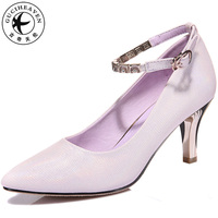 Summer Purple Beige Office Pumps Buckle Strap Heels PU Pointed Toe Sexy Dress Prom Wedding Women Shoes Heighten Shoes Size 34 40