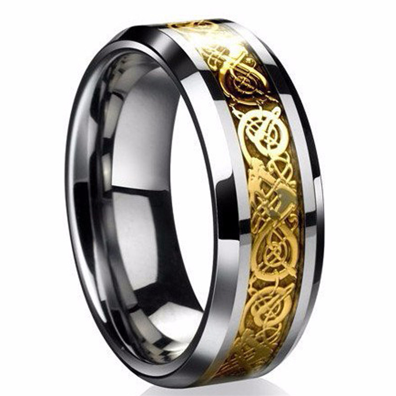 Fine jewelry stainless steel Dragon Ring Mens Jewelry Wedding Band male ring for lovers Valentine present/gift Браслет
