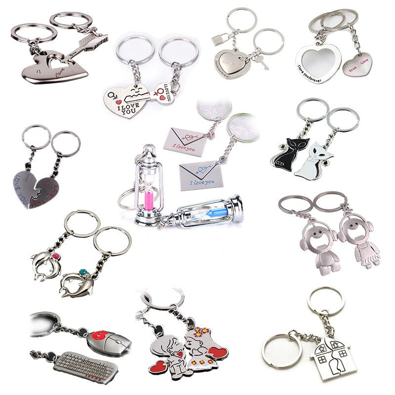 2Pcs/set Cute Cat Love Heart Keyring Couple Keychain Key Ring New Fashion Gift For Kids Friends Gift