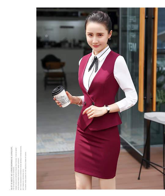 a4a01665a6c4 2018 invierno mujeres de negocios formal chaleco falda trajes para oficina  señora alta quailty chaqueta de lujo faldas 2 unidades tops chaquetas