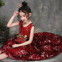 High Quality Luxury Mesh Ball Gown Girls Dress Red Princess Wedding Dresses Model Show Party Anniversaire Fille 3 12T