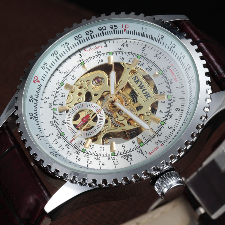 2016 SEWOR New Fashion Army Cool Design Mechanical Automatic Self-Wind Clock Leather Strap Skeleton Male Gift Men Wrist Watch new arrival silver transparent skeleton open face design pocket watch women mens gift clock with 30cm chain p1038c