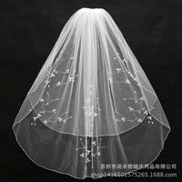 Veu De Noiva 2016 Cheap Beaded Bridal Short Veil Soft Tulle Two Layer Women Wedding Veils With Comb Robe De Mariage
