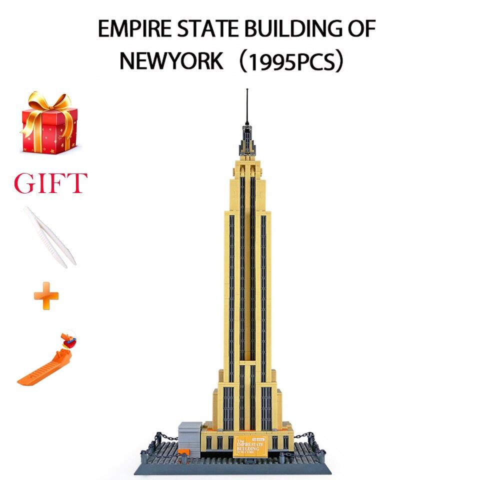 1995 pièces NEWYORK Empire état bâtiment Legoed blocs de construction célèbre architecture modèle ville blocs jouets éducatifs enfants briques