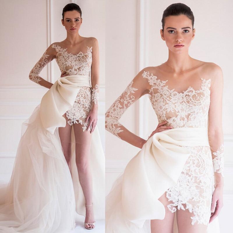 Sheer Lace Applique Long Sleeve Wedding Dress V Neck: Asymmetric Two Piece Wedding Dress Detachable Train Long
