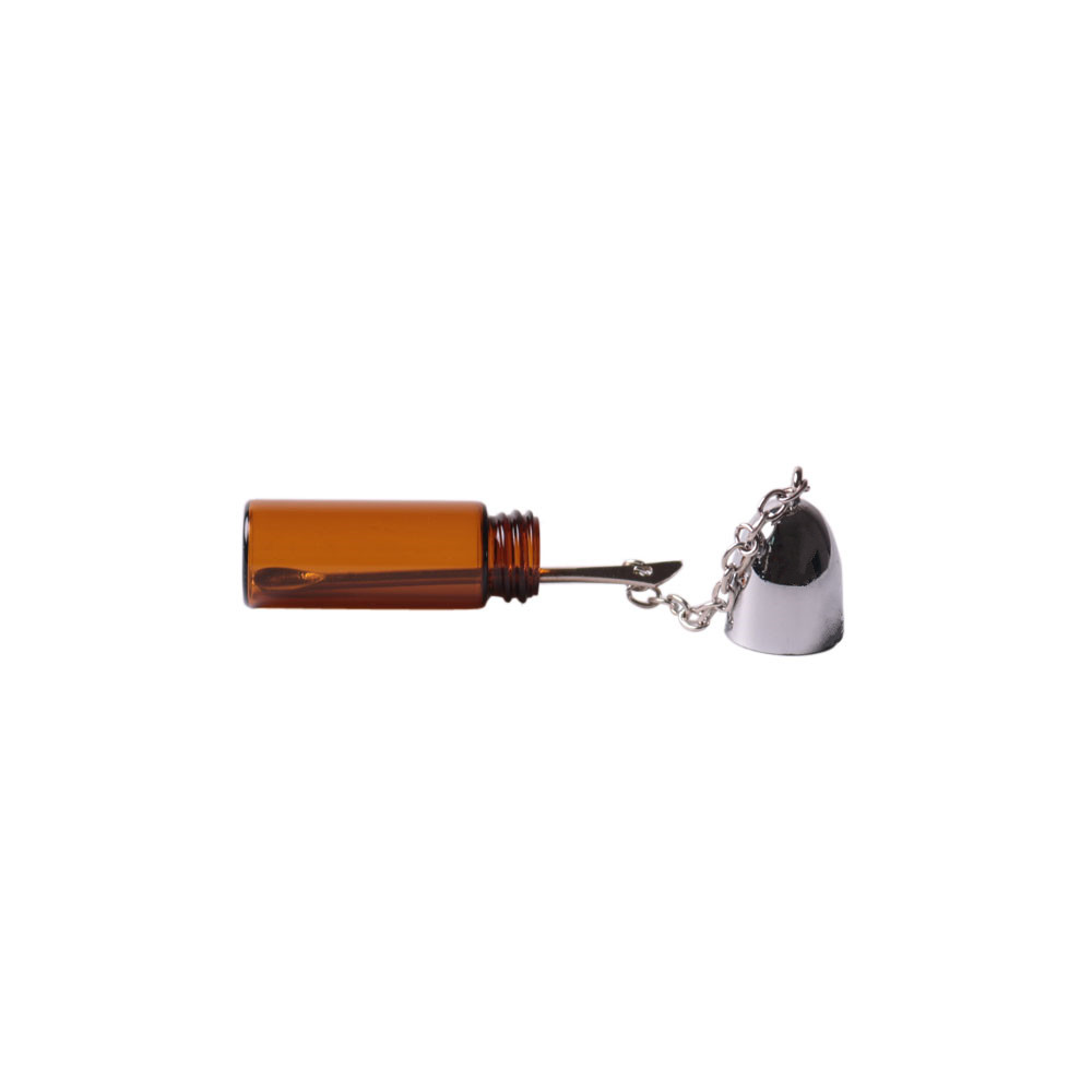 5xGlass Bullet Snorter Snuff Bottle with Metal Spoon Snorter Vial Storage Holder