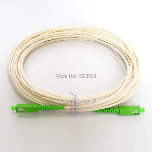 White Color SM SX PVC 3mm 15 Meters SC/APC Fiber Optic Jumper Cable SC/APC SC/APC Fiber Optic Patch Cord