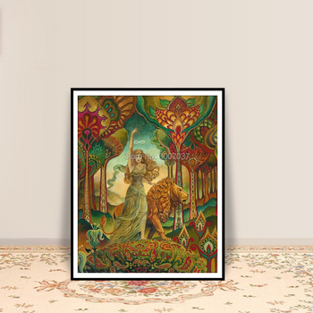 Strength Tarot Goddess Psychedelic Pagan Nouveau Hand Painted Pagan Mythology Psychedelic Bohemian Gypsy Goddess Oil Painting фото