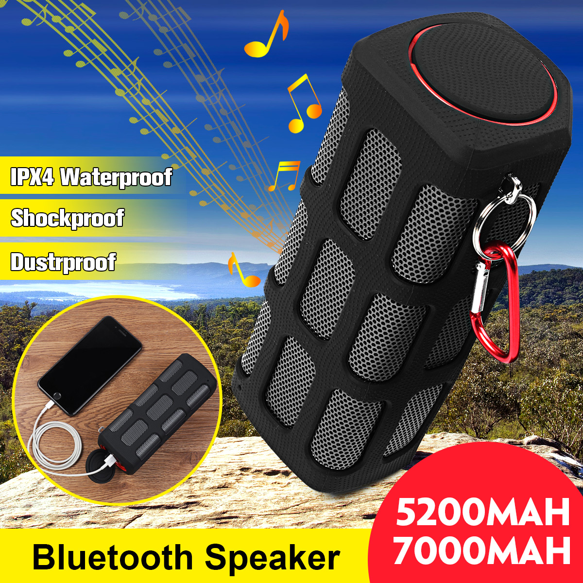 5200 мАч/7000 мАч Водонепроницаемый открытый Bluetooth Динамик Беспроводной Портативный противоударный пылезащитный Мощность Bank Спорт Динамик s са...
