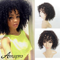 Cheap Price Kinky Curly Wigs 7A Grade Human Hair Bob Wigs 130% Density 14inch Front Lace Wigs Post Mail Free Shipping