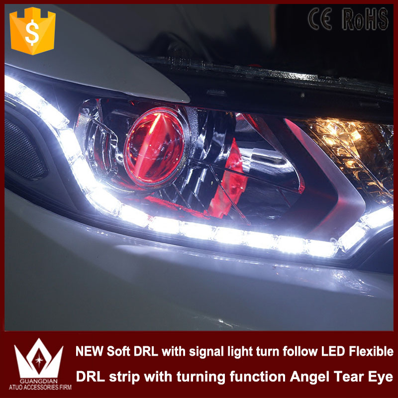 Tcart Car Flexible Switchback LED Knight Rider Strip Light for Headlight Sequential Flasher DRL Flowing Amber Turn Signal Lights 2pcs 12v car drl led daytime running light flexible tube strip style tear strip car led bar headlight turn signal light parking