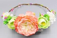 Богемный стиль большой цветок цвет цветок гирлянды глава цветочные ручной короны Свадебные аксессуары для волос венок венки тиара женщины