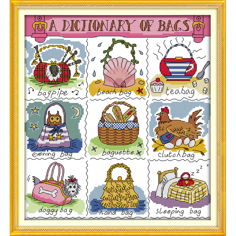 A dictionary of bags DIY Handmade Needlework Chinese Counted Cross Stitch Set Embroidery Kits 14CT Pattern Cross-Stitching 11ct