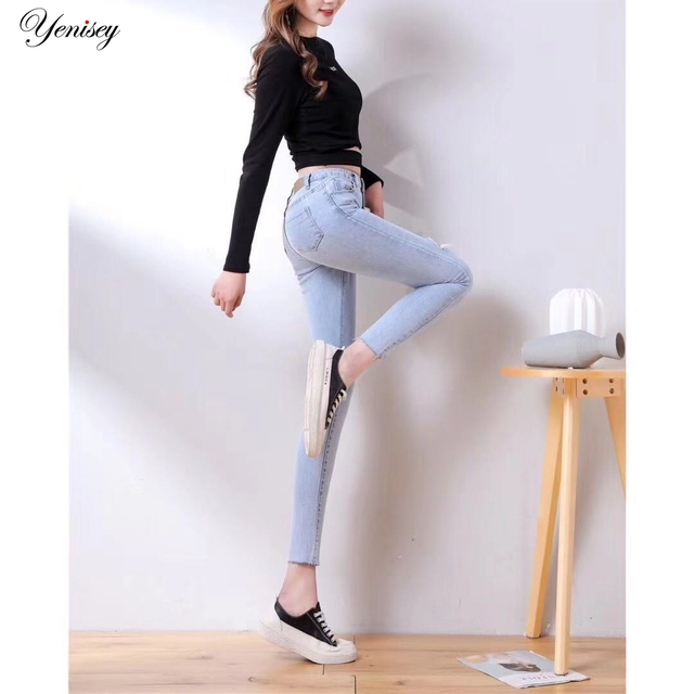 גבוהה מותן ג 'ינס אישה גבוהה אלסטי חדש ג' ינס מכנסיים בתוספת גודל לדחוף את מכנסיים