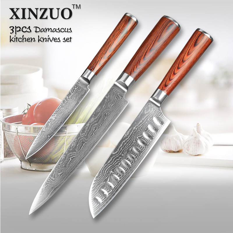 XINZUO 3 pcs Kitchen font b knife b font set Japanese 73 layers Damascus kitchen font