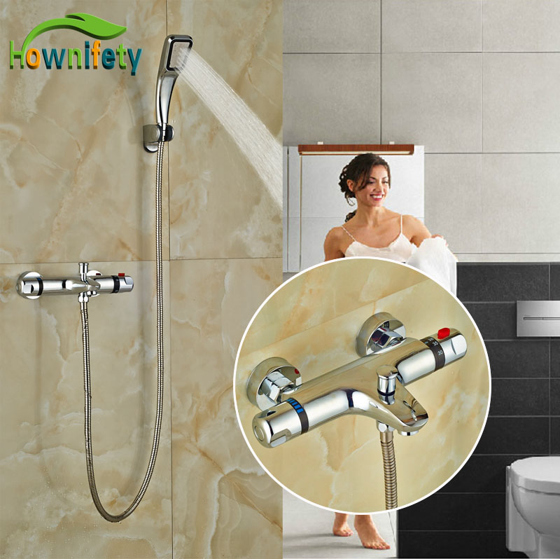 Widespread Chrome Polish Tub Faucet Bath Thermostatic Shower Set W/Hand Shower Exposed china sanitary ware chrome wall mount thermostatic water tap water saver thermostatic shower faucet
