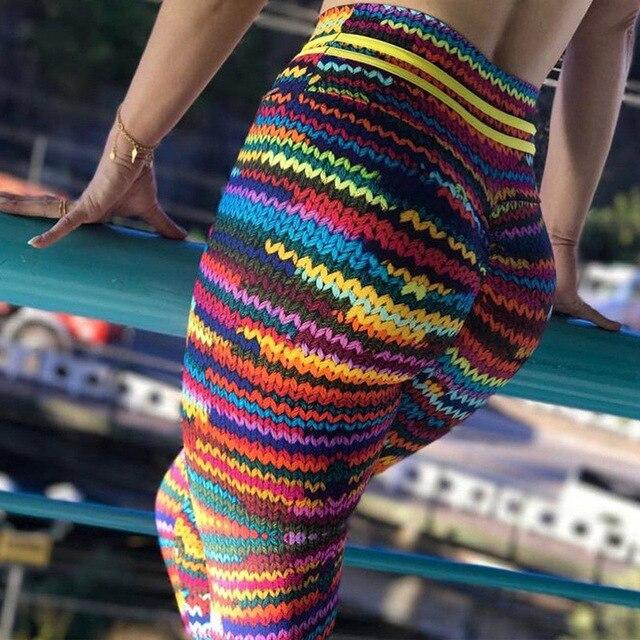 Sıcak Satış Kadın Örgü Desen Baskı Tayt Spor Seksi Kadın Spor Egzersiz Leggins Koşu Yüksek Bel Elastik ince pantolon