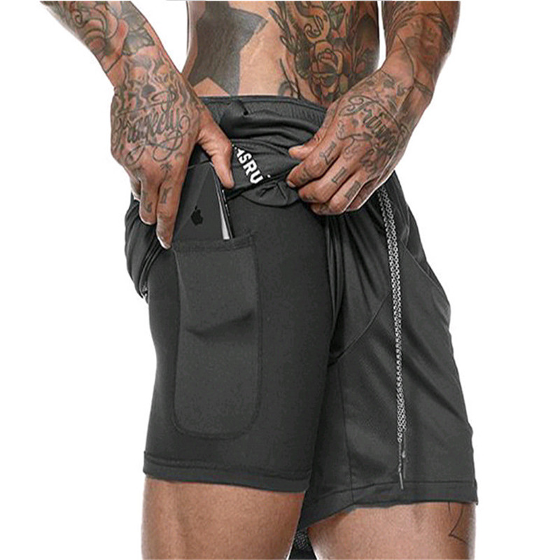 Men's 2 In 1 Running Shorts Mens Sports Shorts Quick Drying Training Exercise Jogging Gym Shorts With Built-in Pocket Liner