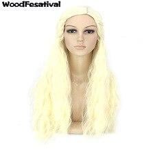 WoodFestival длинные волнистые блондинка парик косплей женщины платины парики из синтетических волос жаропрочных