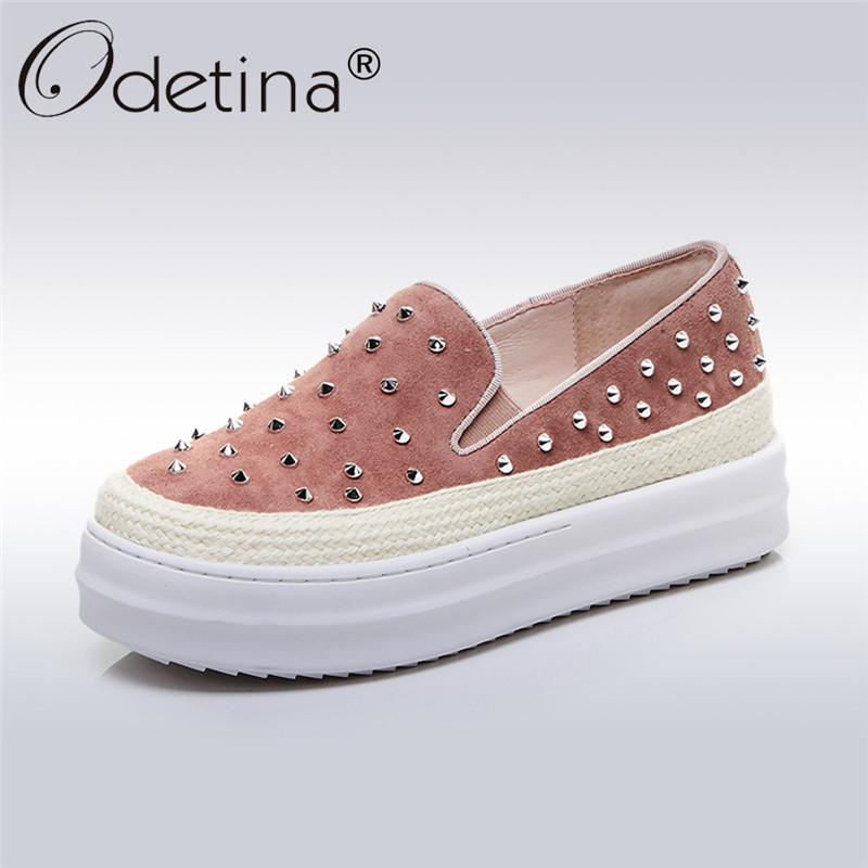 Odetina 2017 New Fashion Genuine Leather Women Rivet Flats Platform Casual Shoes Lady Slip on Loafers Round Toe Plus Size 32-43 cootelili women flats genuine leather shoes woman casual loafers slip on round toe ladies oxfords white plus size 40 41 42 43