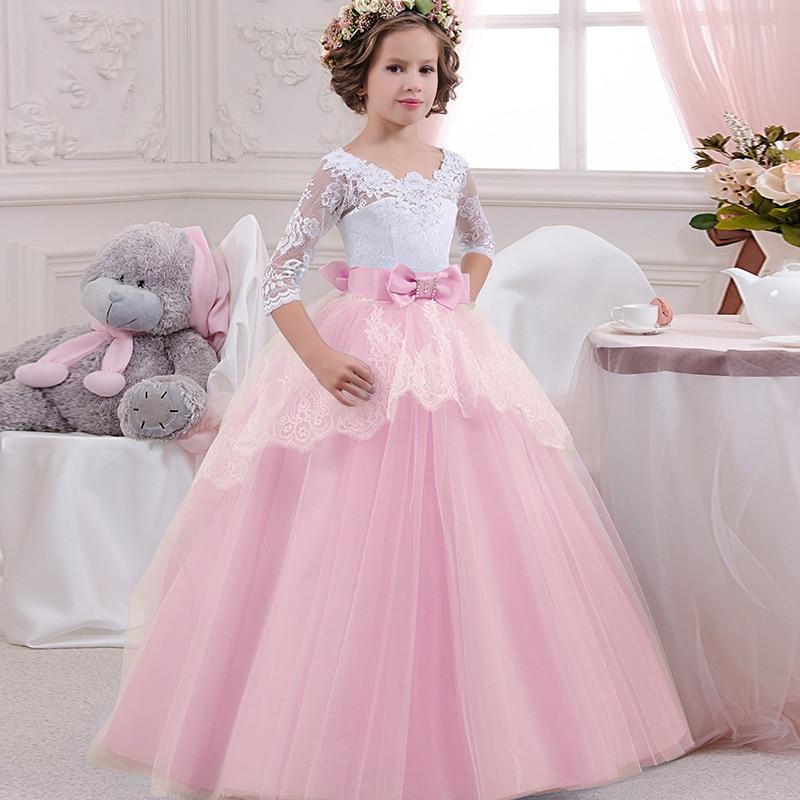 Цветок девочки'ы банкета день рождения с длинным рукавом кружева шить платье Элегантная девушка's свадебное длинные белые кружева платье бабочка петли