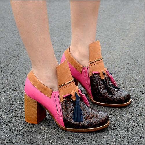 Fashion Mixed Color Autumn New Women Pumps Soft Leather Fringe Thick High Heels Dress Shoes Woman Rivet Motorcycle Ankle Boots