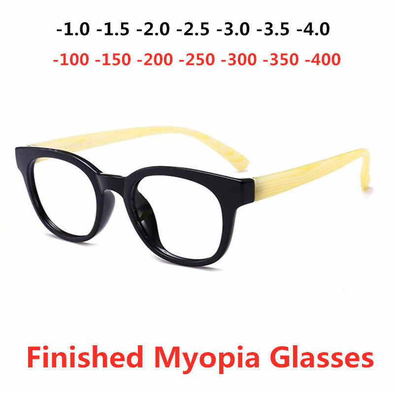 Готовые Очки для близорукости, овальная оправа для мужчин и женщин, прозрачные линзы для старшей школы, очки по рецепту-1-1,5-2-2,5-3-3,5-4