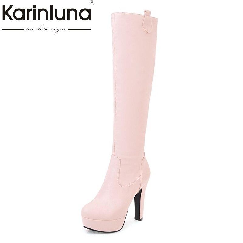 где купить KARINLUNA customize large size 31-45 platform high heel woman shoes women sexy knee high boots add fur winter autumn black white по лучшей цене
