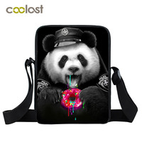 New Black Funny Panda Bag Kids Mini Messenger Bag Small Shoulder Bags For Boys Girls Kids