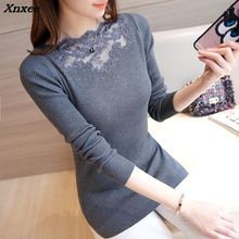 Xnxee 2018 women fashion sweatere new autumn and winter slim stretch knitted lace shirt ironed ablazely low neck sweater