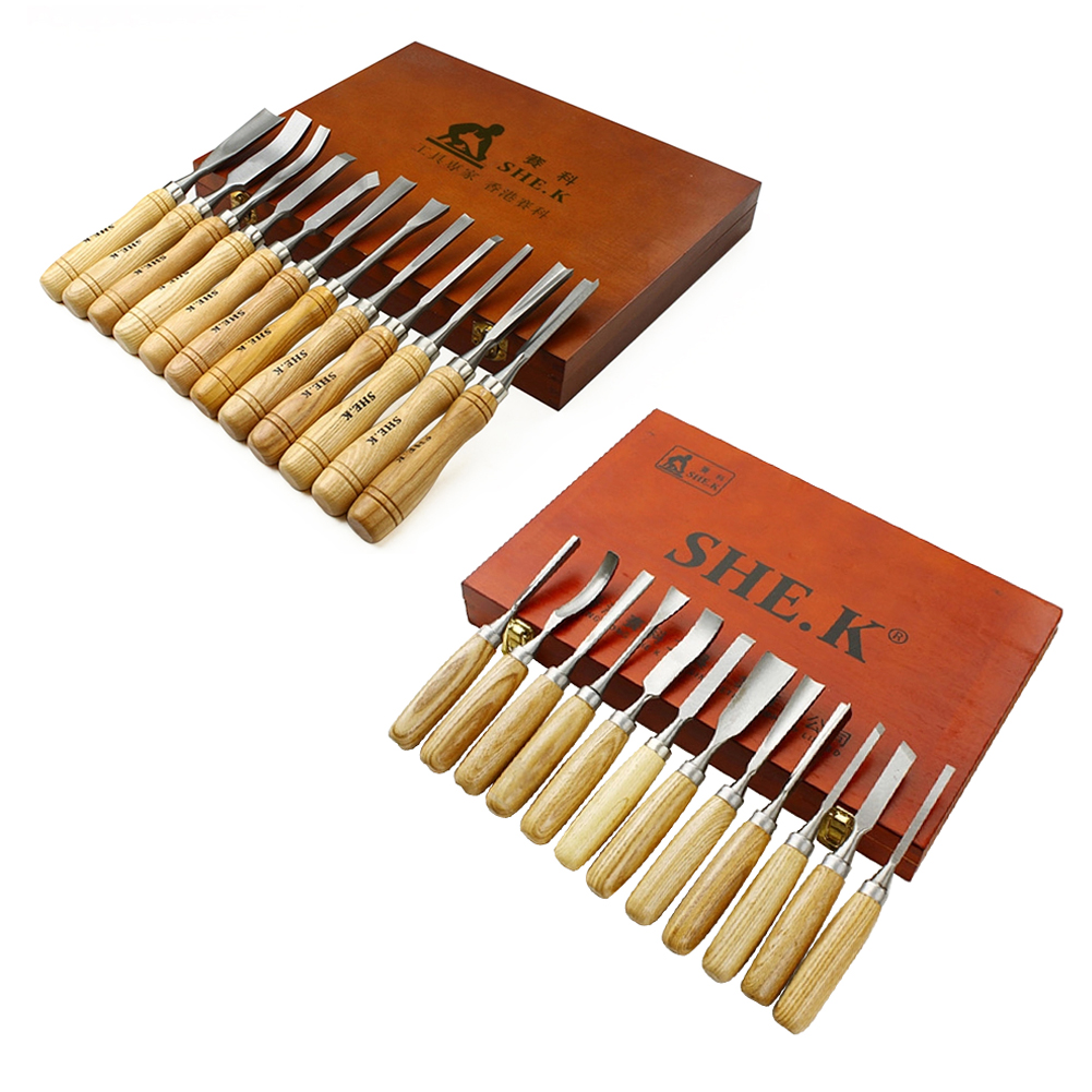 ФОТО 12 Pieces Wood Carving Hand Chisel Knives Tool Set Professional Gouges For Carpenter Woodworking Wood Craft Cutting Tools