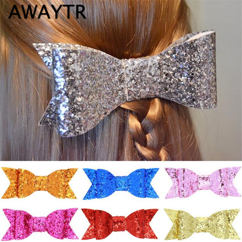 2 Pcs/Lot AWAYTR Sequins Hair Bows for Girls 2017 Gold Silver Hair Bow with Clips Candy Color 4'' Width Women Girl Hair Clip halloween party zombie skull skeleton hand bone claw hairpin punk hair clip for women girl hair accessories headwear 1 pcs