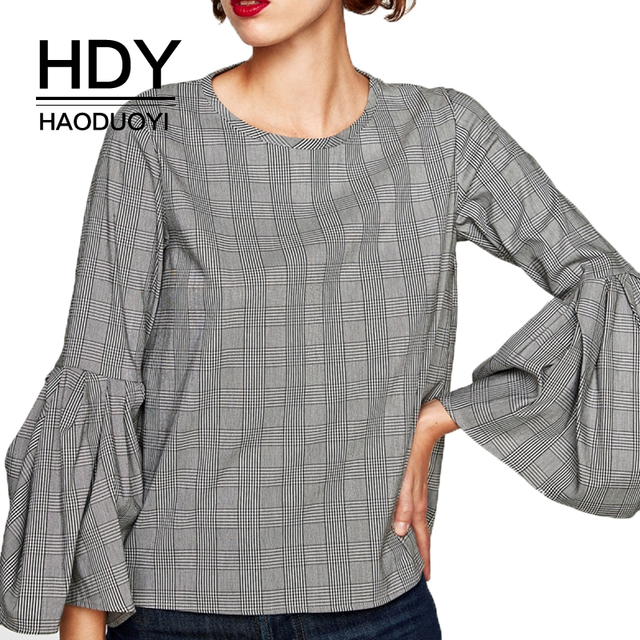 124fa4b7d6 HDY Haoduoyi Brand Women Plaid Casual Ruffles Shirts O-Neck Butterfly Sleeve  Female Fashion Cotton