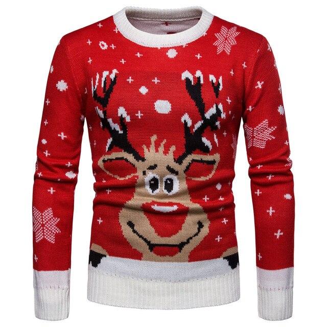 cb35e73d61f1e0 Męska jesień zima ciepły sweter boże narodzenie druku sweter z dzianiny  topy męska łoś bożonarodzeniowy wokół