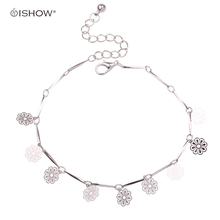 New arrival simple silver plated mujeres pulsera tobillera ankle chain flower woman anklets silver foot jewelry 2016