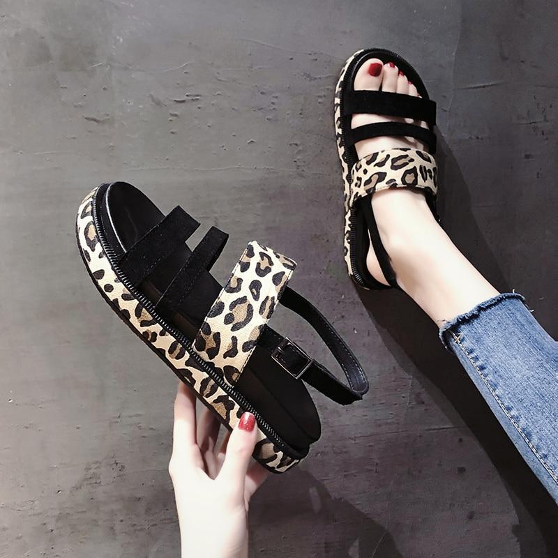 2019 Fashion Hot Selling Leopard open toe Buckle Casual women sandals Summer walking footwears middle heels sandalias mujer 16