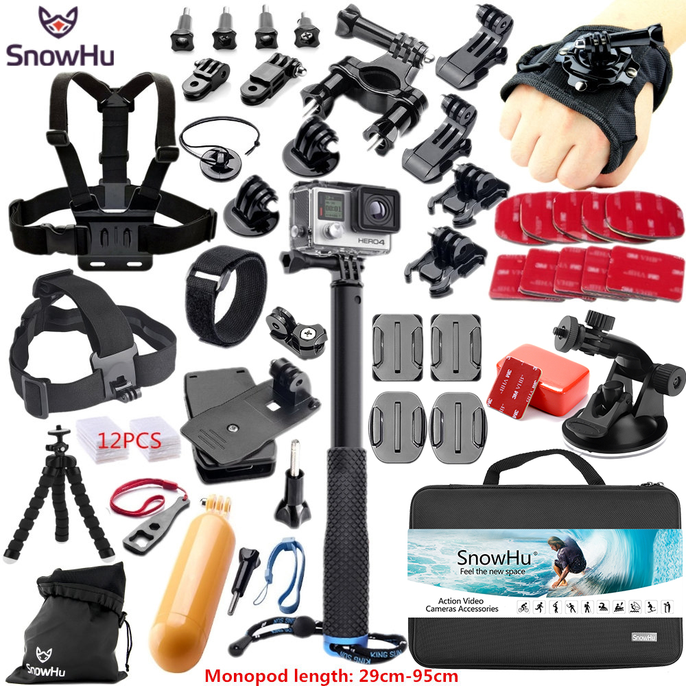 SnowHu For Gopro Accessories for gopro accessories set for gopro hero 6 5 hero 4 3 kit for Xiaomi Camera sjcam accessories GS38