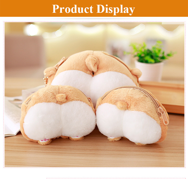1pcs Novelty Corgi Butt CrossBody Bag Cute Creative Pet Dog Sexy Bottom Coin Bag  Stuffed Plush Animal Toy for Kids Gift (4)