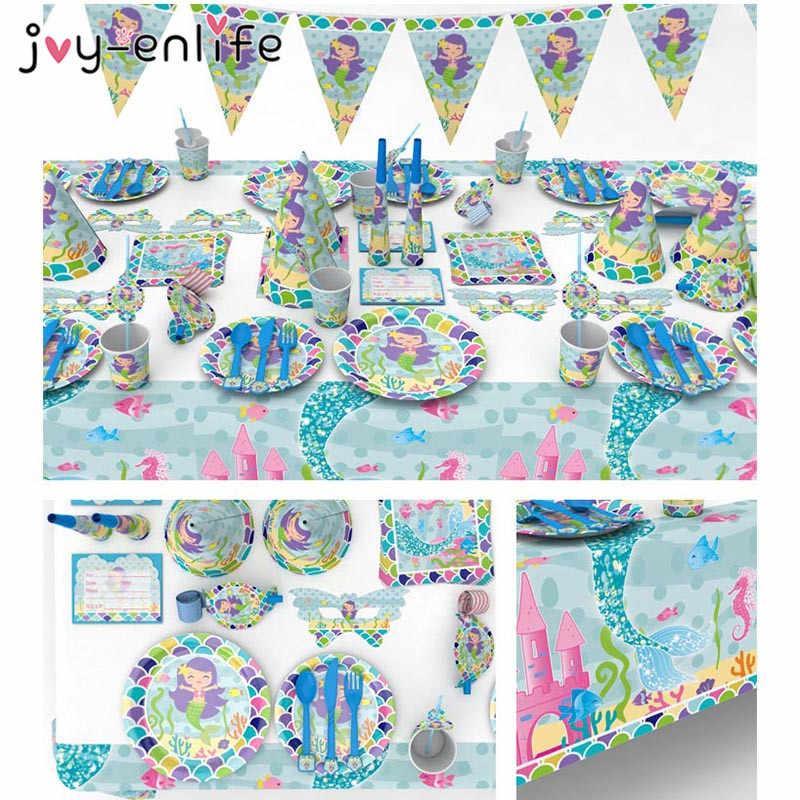 Joy Enlife Sirena Tema Cumpleaños Fiesta Decoración Platos De Papel Tazas Servilleta Tarjetas De Invitación Mantel Baby Shower Fiesta Suministros